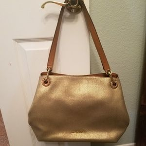 Michael Kors Gold Metallic Raven Bag Purse